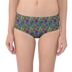 Pattern Abstract Paisley Swirls Mid Waist Bikini Bottoms by Simbadda