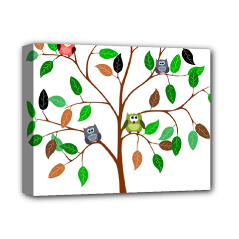 Tree Root Leaves Owls Green Brown Deluxe Canvas 14  X 11  by Simbadda