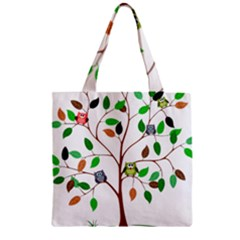 Tree Root Leaves Owls Green Brown Zipper Grocery Tote Bag by Simbadda