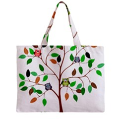 Tree Root Leaves Owls Green Brown Zipper Mini Tote Bag by Simbadda