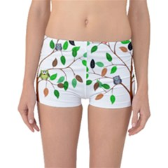 Tree Root Leaves Owls Green Brown Boyleg Bikini Bottoms by Simbadda