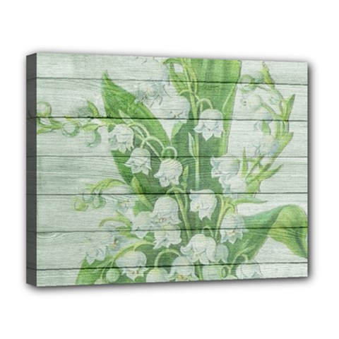 On Wood May Lily Of The Valley Canvas 14  X 11  by Simbadda