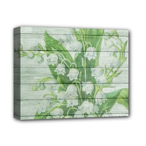 On Wood May Lily Of The Valley Deluxe Canvas 14  X 11  by Simbadda