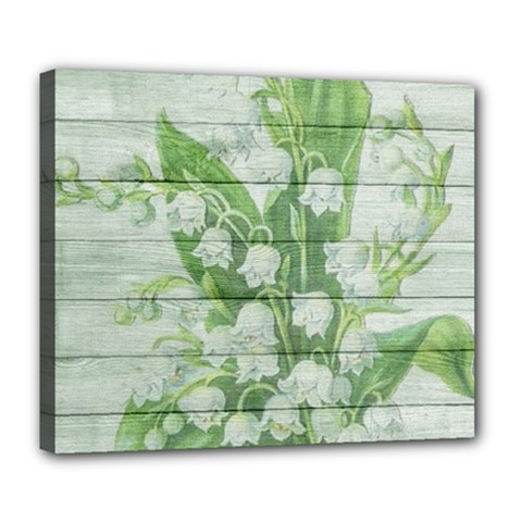 On Wood May Lily Of The Valley Deluxe Canvas 24  X 20   by Simbadda