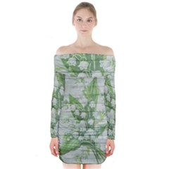 On Wood May Lily Of The Valley Long Sleeve Off Shoulder Dress