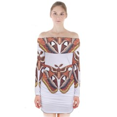 Butterfly Animal Insect Isolated Long Sleeve Off Shoulder Dress by Simbadda
