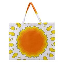 Sun Hot Orange Yrllow Light Zipper Large Tote Bag by Alisyart