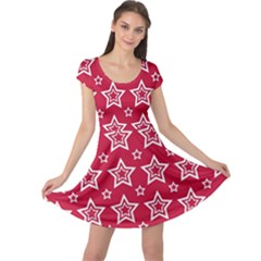 Star Red White Line Space Cap Sleeve Dresses