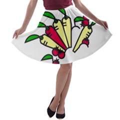 Tomatoes Carrots A Line Skater Skirt by Alisyart