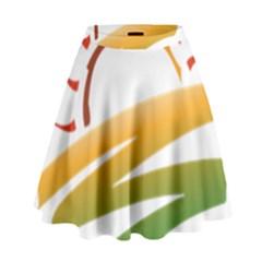 Sunset Spring Graphic Red Gold Orange Green High Waist Skirt by Alisyart