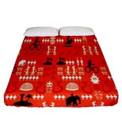 Traditional Wayang Fitted Sheet (queen Size) by Alisyart