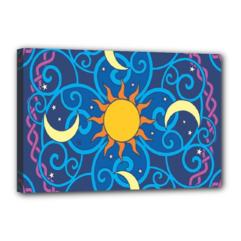Sun Moon Star Space Purple Pink Blue Yellow Wave Canvas 18  X 12  by Alisyart