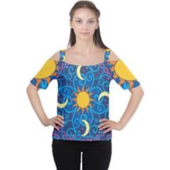 Sun Moon Star Space Purple Pink Blue Yellow Wave Women s Cutout Shoulder Tee by Alisyart