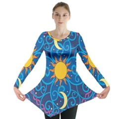Sun Moon Star Space Purple Pink Blue Yellow Wave Long Sleeve Tunic  by Alisyart