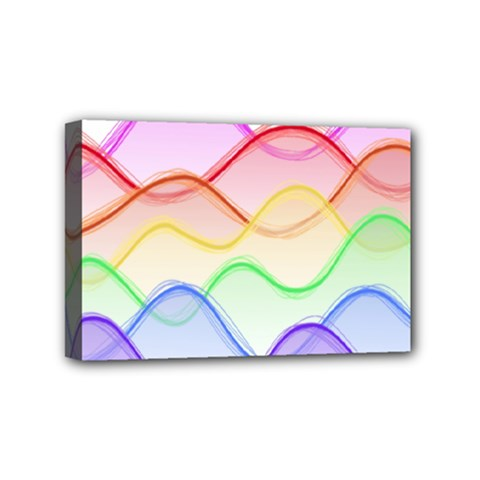 Twizzling Brain Waves Neon Wave Rainbow Color Pink Red Yellow Green Purple Blue Mini Canvas 6  X 4  by Alisyart