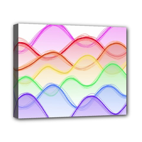 Twizzling Brain Waves Neon Wave Rainbow Color Pink Red Yellow Green Purple Blue Canvas 10  X 8