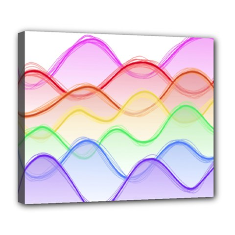 Twizzling Brain Waves Neon Wave Rainbow Color Pink Red Yellow Green Purple Blue Deluxe Canvas 24  X 20   by Alisyart