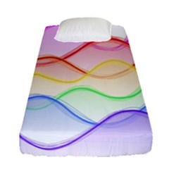 Twizzling Brain Waves Neon Wave Rainbow Color Pink Red Yellow Green Purple Blue Fitted Sheet (single Size) by Alisyart