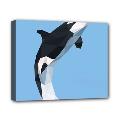 Whale Animals Sea Beach Blue Jump Illustrations Canvas 10  X 8