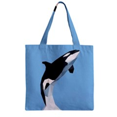 Whale Animals Sea Beach Blue Jump Illustrations Zipper Grocery Tote Bag by Alisyart