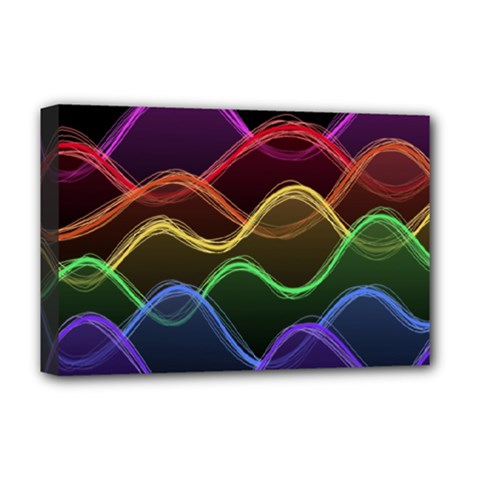Twizzling Brain Waves Neon Wave Rainbow Color Pink Red Yellow Green Purple Blue Black Deluxe Canvas 18  X 12   by Alisyart