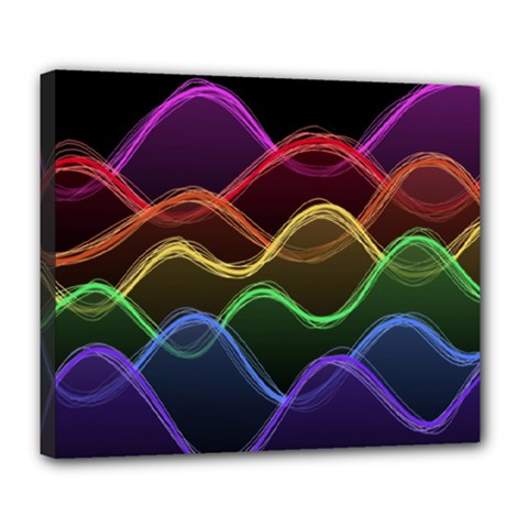 Twizzling Brain Waves Neon Wave Rainbow Color Pink Red Yellow Green Purple Blue Black Deluxe Canvas 24  X 20   by Alisyart