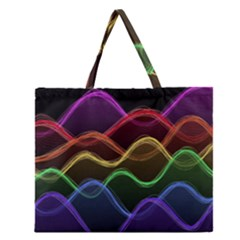 Twizzling Brain Waves Neon Wave Rainbow Color Pink Red Yellow Green Purple Blue Black Zipper Large Tote Bag by Alisyart
