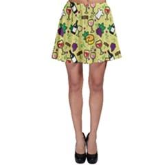 Wine Cheede Fruit Purple Yellow Skater Skirt by Alisyart