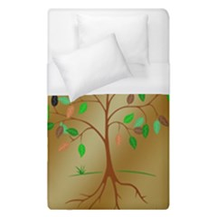 Tree Root Leaves Contour Outlines Duvet Cover (single Size) by Simbadda