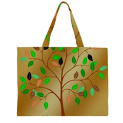 Tree Root Leaves Contour Outlines Zipper Large Tote Bag by Simbadda