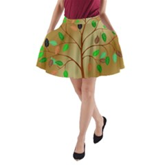 Tree Root Leaves Contour Outlines A Line Pocket Skirt by Simbadda