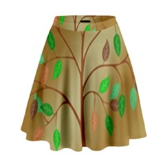 Tree Root Leaves Contour Outlines High Waist Skirt by Simbadda