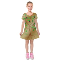 Tree Root Leaves Contour Outlines Kids  Short Sleeve Velvet Dress by Simbadda