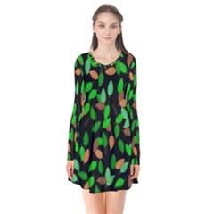 Leaves True Leaves Autumn Green Flare Dress by Simbadda