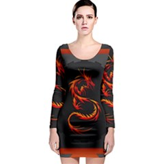 Dragon Long Sleeve Bodycon Dress by Simbadda