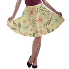 Seamless Spring Flowers Patterns A Line Skater Skirt by TastefulDesigns