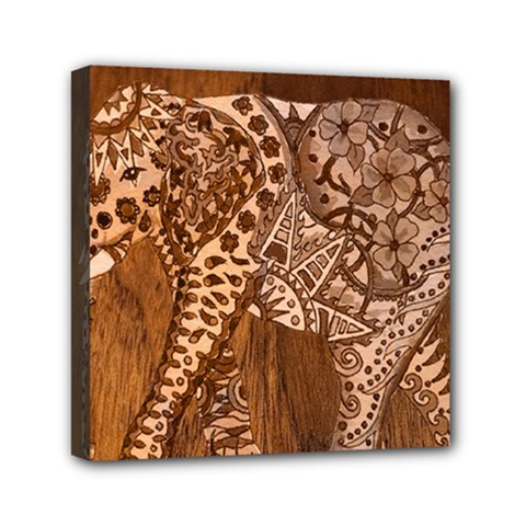 Elephant Aztec Wood Tekture Mini Canvas 6  X 6  by Simbadda