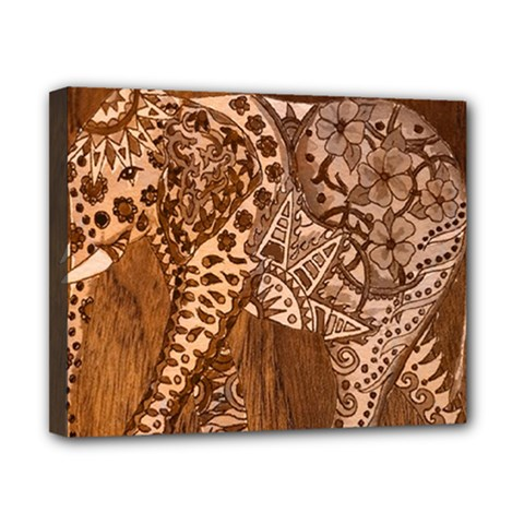 Elephant Aztec Wood Tekture Canvas 10  X 8  by Simbadda