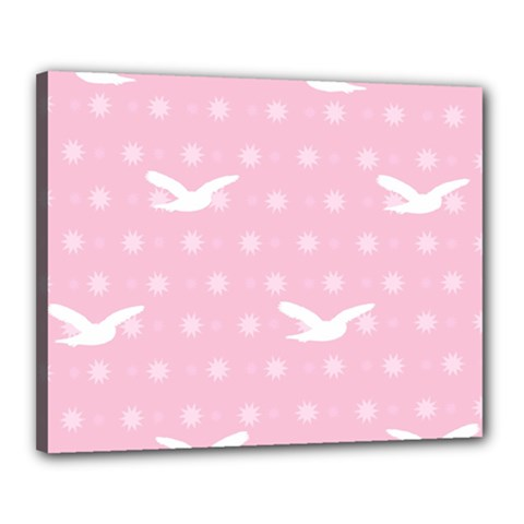 Wallpaper Same Palette Pink Star Bird Animals Canvas 20  X 16  by Alisyart