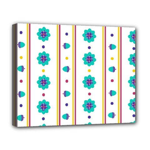 Beans Flower Floral Blue Deluxe Canvas 20  X 16   by Alisyart