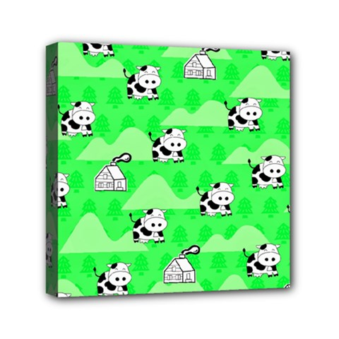 Animals Cow Home Sweet Tree Green Mini Canvas 6  X 6  by Alisyart
