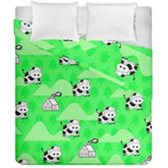 Animals Cow Home Sweet Tree Green Duvet Cover Double Side (california King Size) by Alisyart