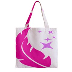 Bird Feathers Star Pink Zipper Grocery Tote Bag by Alisyart