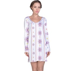 Beans Flower Floral Purple Long Sleeve Nightdress by Alisyart