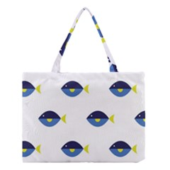 Blue Fish Swim Yellow Sea Beach Medium Tote Bag by Alisyart