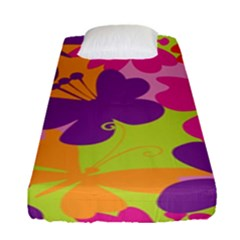 Butterfly Animals Rainbow Color Purple Pink Green Yellow Fitted Sheet (single Size) by Alisyart