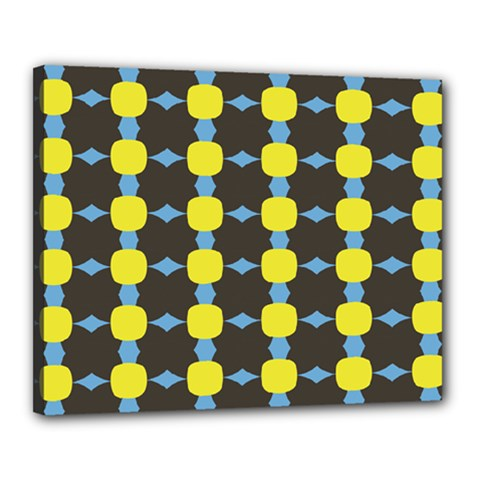Blue Black Yellow Plaid Star Wave Chevron Canvas 20  X 16  by Alisyart