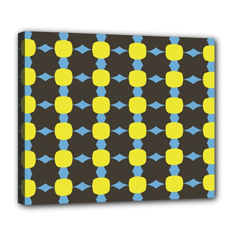 Blue Black Yellow Plaid Star Wave Chevron Deluxe Canvas 24  X 20   by Alisyart