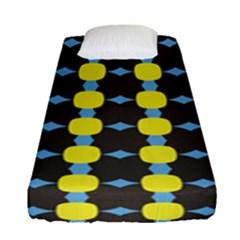 Blue Black Yellow Plaid Star Wave Chevron Fitted Sheet (single Size) by Alisyart