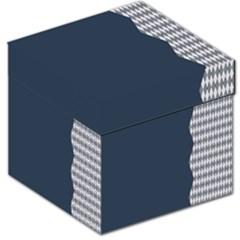 Argyle Triangle Plaid Blue Grey Storage Stool 12   by Alisyart